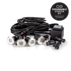 STARTER KIT CONSISTING OF 4x 1W LIGHTS, 1x 100W TRANSFORMER, 1x 10m CABLE, 3x 1m CABLE & 3x T-PIECE CONNECTORS