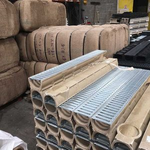 Channel drain galvanised grating polymer concrete